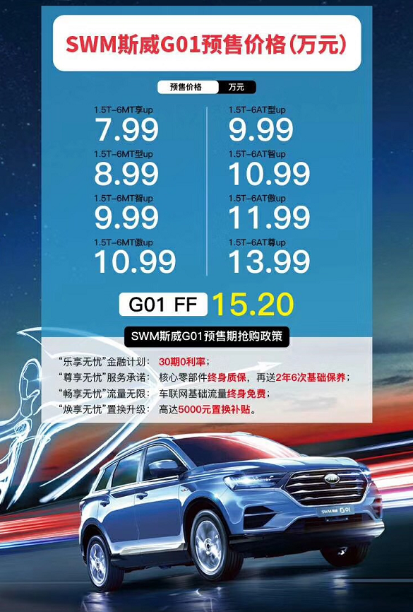 斯威G01预售7.99-15.2万元 将于八月中旬上市