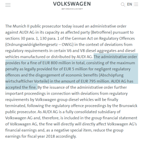 """""""排放门""""持续升温 奥迪被罚款8亿欧元"""