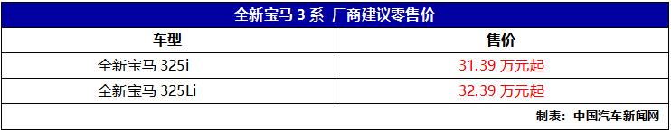 全新宝马3系预售价公布 325i售31.39万元起