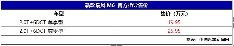全新江淮M6上市 售价19.95-25.95万元