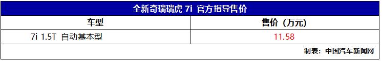 瑞虎7i官方指导价发布 售价11.58万元