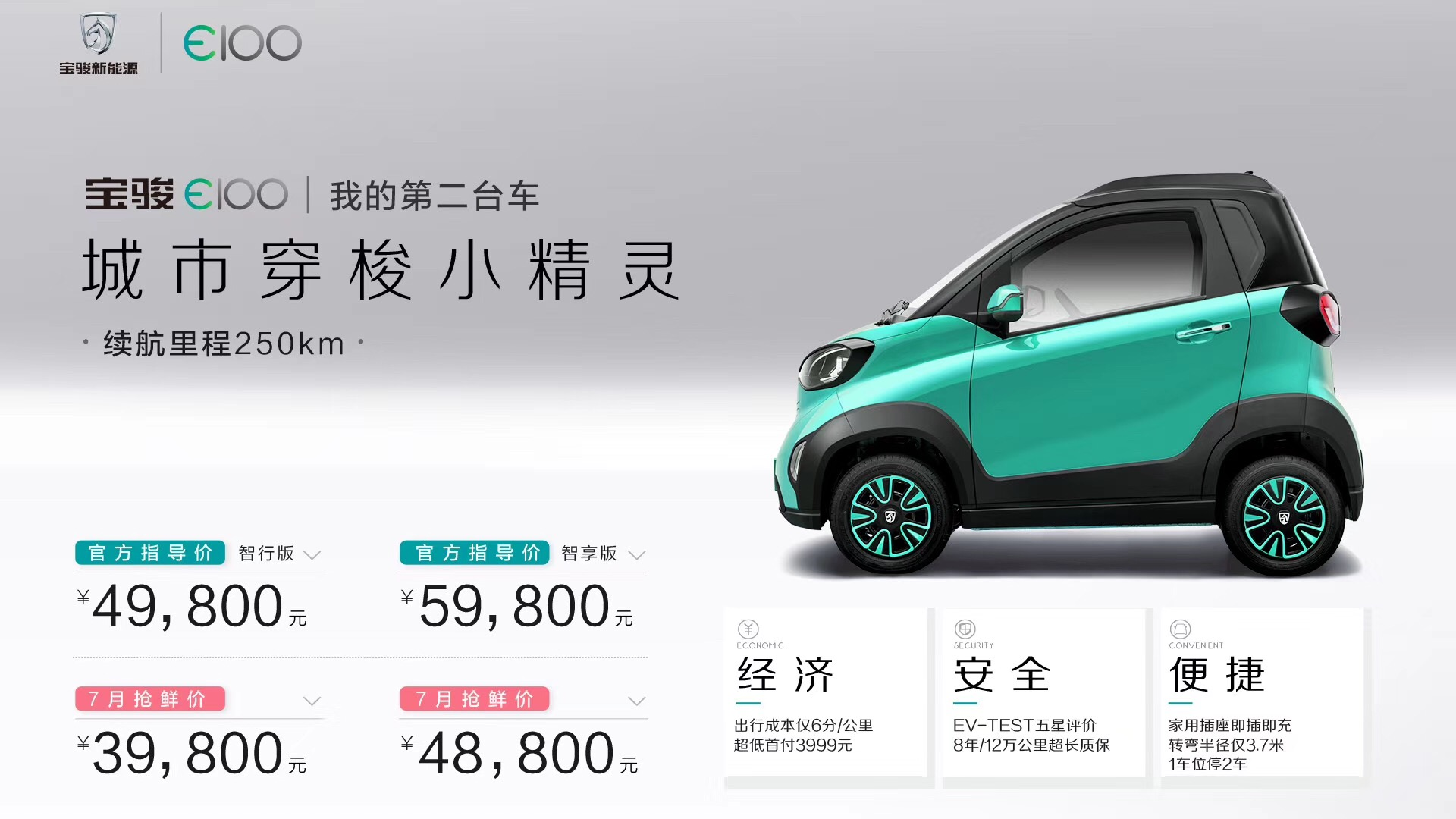 全新宝骏E100上市 售价4.98-5.98万元