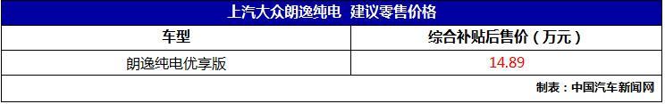 新车报价:上汽大众朗逸纯电上市 补贴后售价14.89万元