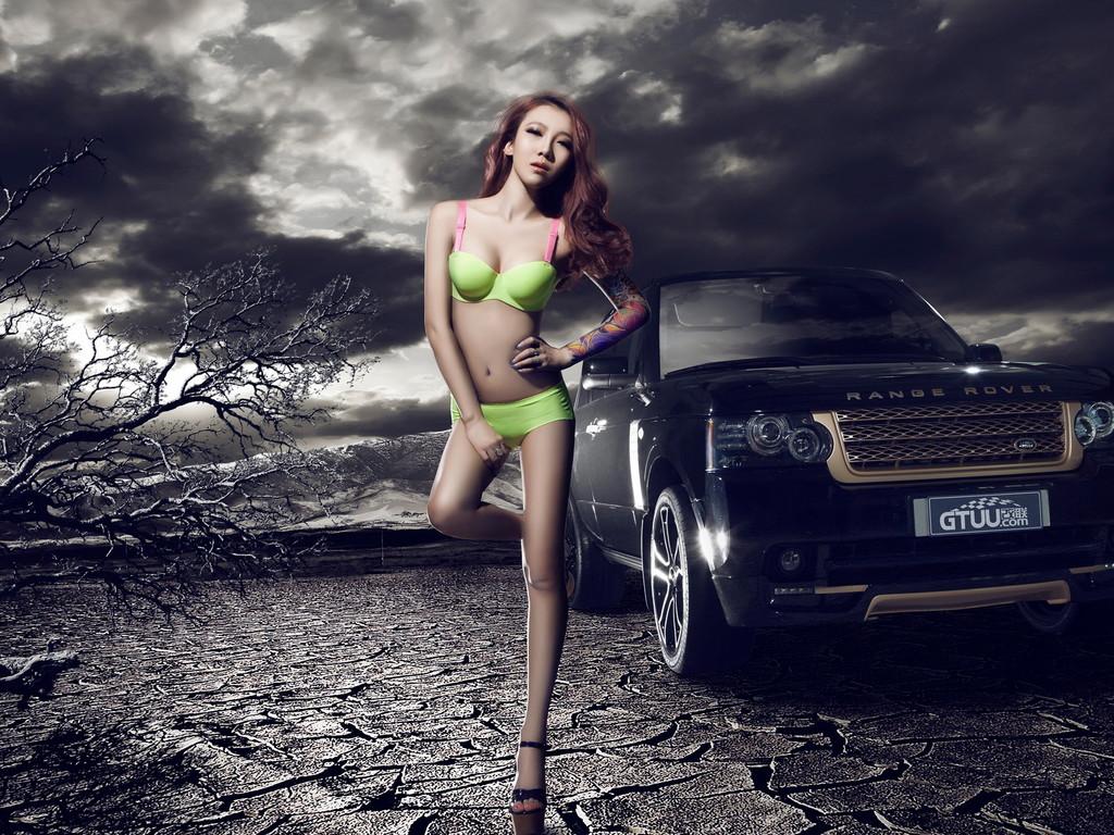 路虎改装车美女模特