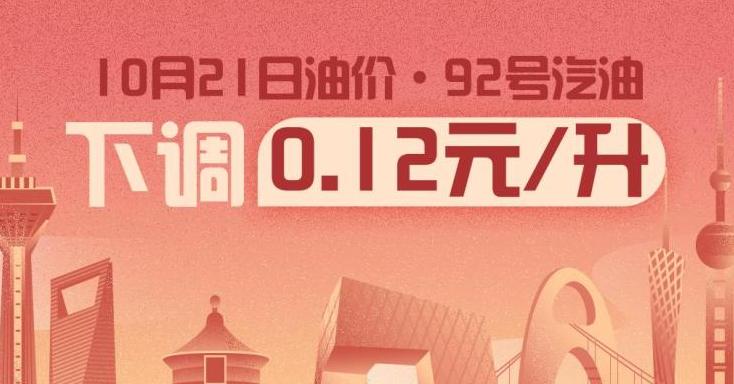 10月21日24时:92号汽油下调0.12元/升