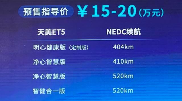 SSC设计-天美ET5正式发布 预售价15.00-20.00万