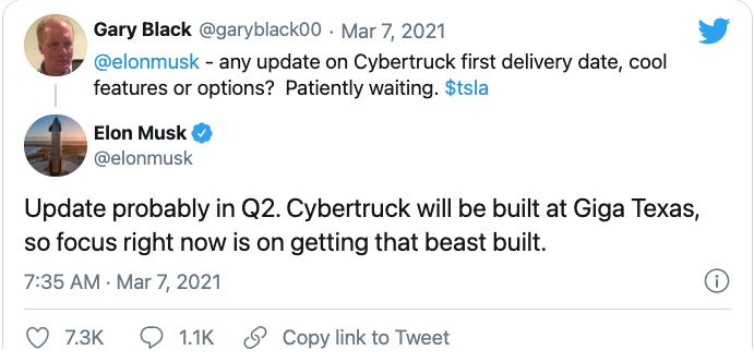 特斯拉可能在第二季度发布Cybertruck更新