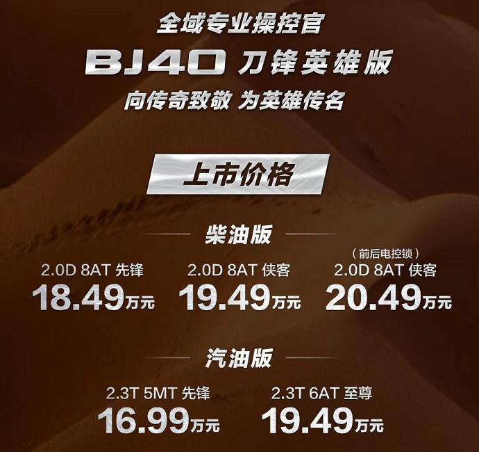 北京越野BJ40刀锋英雄版上市,售16.99万起-海博APP